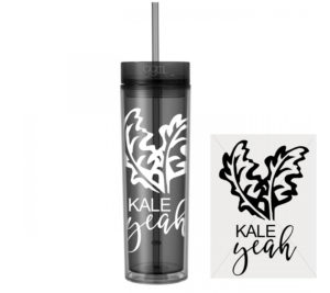Kale Ya - Vegetarian - Skinny Tumbler With Straw and Lid- Hot & Cold - God Give Me Truth